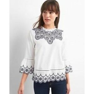 Gap White/Navy Embroidered Bell Sleeve Eyelet Top